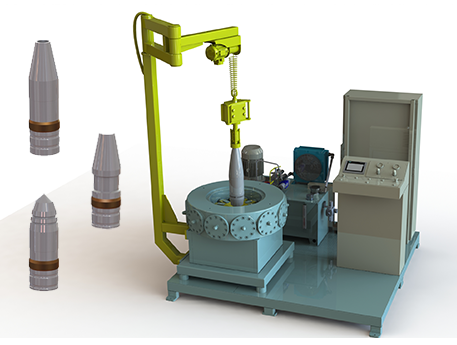 Special-purpose hydraulic press for rotating bands